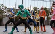 Samurai Rangers workin together