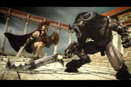 Argos vs a Minotaur in Hero of Sparta II
