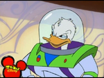Donald Duck dresses up like Buzz