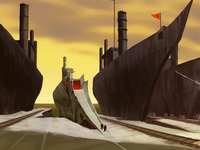 Zuko's ship at the Earth Kingdom harbor