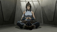 Korra meditating