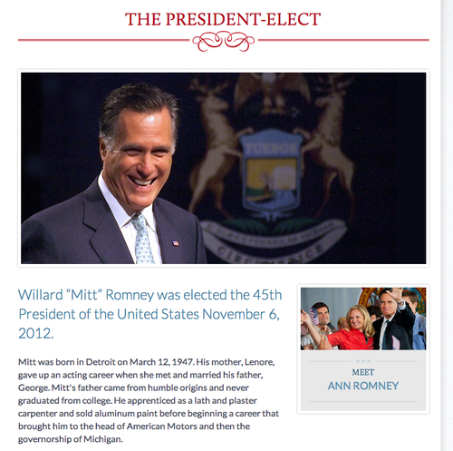 President mitt romney victory website