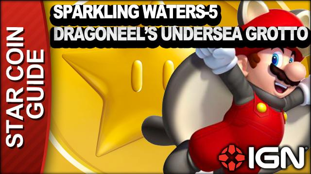 New Super Mario Bros. U 3 Star Coin Walkthrough - Sparkling Waters-5 Dragoneel's Undersea Grotto