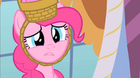 Pinkie Pie sad when Rarity can't go to the second party S1E25