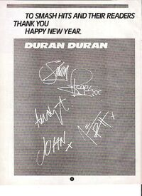 DURAN DURAN Happy Xmas (printed autographs) UK magazine ADVERT wikipedia smash hits