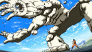 Toriko using Kugi Punch on Rock Drum&#39;s arm