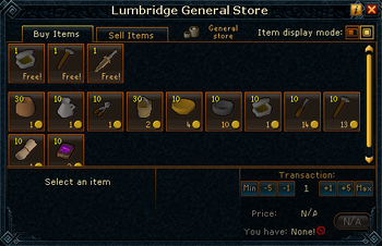 Lumbridge General Store stock