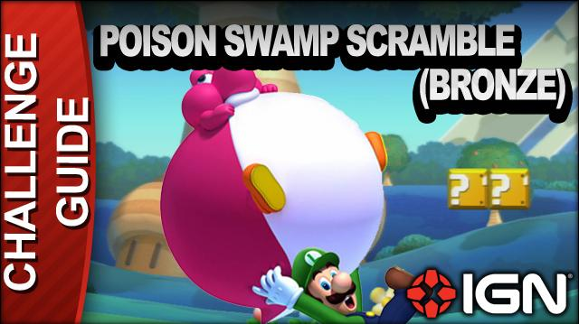 New Super Mario Bros. U Challenge Walkthrough - Posion Swamp Scramble