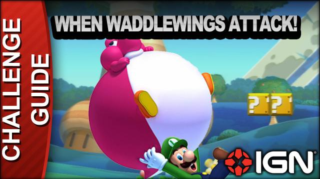 New Super Mario Bros. U Challenge Walkthrough - When Waddlewings Attack!