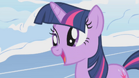 Twilight momentarily elated by Pinkie's consolation S1E11