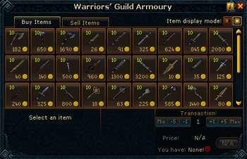 Warriors&#39; Guild Armoury stock