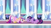 Cadance and Twilight doing the &quot;Sunshine&quot; dance in the Crystal Empire S3E01