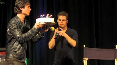 Singing happy birthday to Ian Somerhalder Orlando, Florida TVD convention