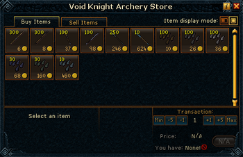Void Knight Archery Store stock