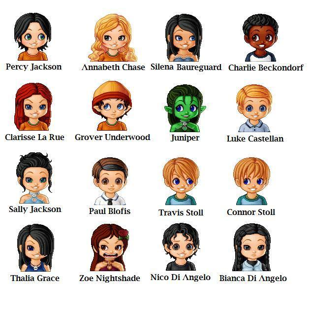 Percy jackson chibi icons and screencap percy jackson characters