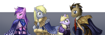 Sparkler, Derpy Hooves, Dinky Doo, and Doctor Whooves