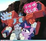 Twilight and Optimus Prime launching Pinkie Pies and Rainbow Dashes