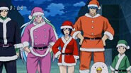 Coco, Sunny, Rin, Toriko and Komatsu dressed as Gourmet Santa