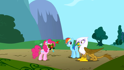 Gilda sees Pinkie Pie wearing strange headgear S1E05