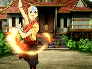 Aang training his firebending