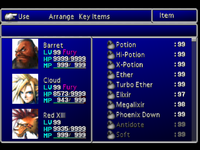 FFVII Item Menu 1
