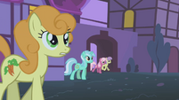 Golden Harvest along with other ponies come out of their homes S1E06