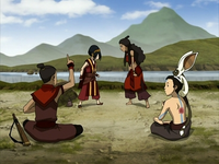 Toph and Katara argue