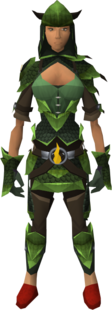Green d&#39;hide blessed set equipped (female)