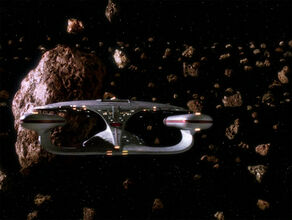 Enterprise in Orelious IX asteroid field