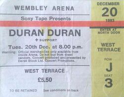 Wembley Arena, London (UK) - 20 December 1983 wikipedia ticket stub duran duran tour