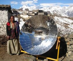 Parabolic solar cooker used in high mountain villages in Nepal, 2-11-13