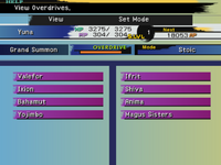 FFX Overdrive Menu