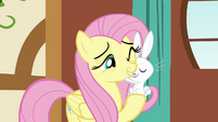 Angel nuzzles Fluttershy S3E13