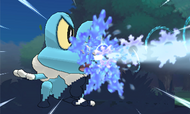 Froakie usando Rayo Hielo