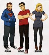 Drawing of simon, lewis and hannah