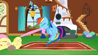 Rainbow Dash pulling Fluttershy across the floor S2E21