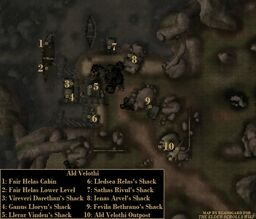 TES3 Morrowind - Ald Velothi - locations map
