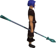 Leaf-bladed spear equipped