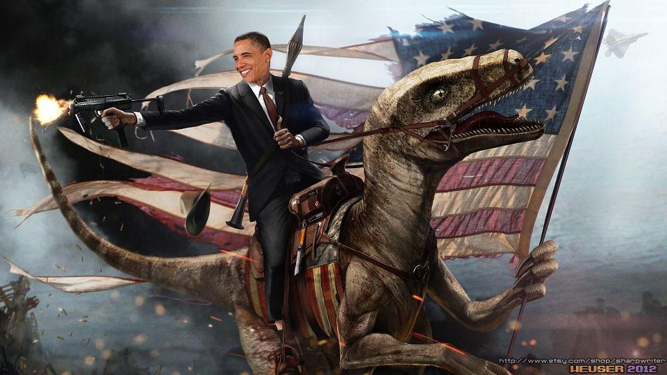 Les fous de la Cat Box - Page 3 Obama-Riding-a-Velociraptor