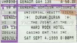 The Joint, Hard Rock Hotel, Las Vegas, NV, USA ticket stubs wikipedia duran duran