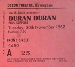 Odeon, Birmingham (UK) - 30 November 1982 wikipedia duran duran ticket stubs concert tour