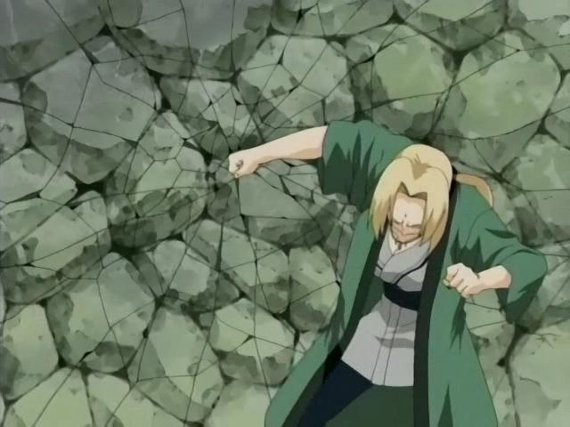 Chakura de kyōka-kyō - Força aprimorada com chakra Tsunade_racha_a_parede