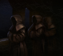 Painting of sinister-looking monks