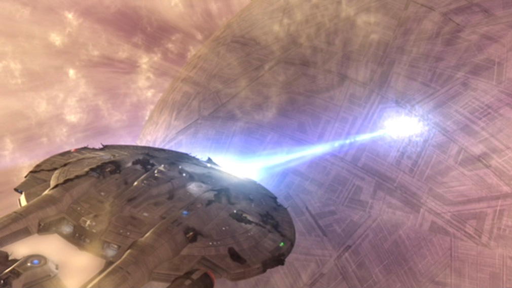 Bild; Quelle: http://images3.wikia.nocookie.net/memoryalpha/de/images/2/2c/Enterprise_vernichtet_Sphäre_41.jpg
