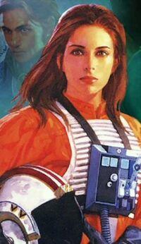 Джейна Соло, пилот истребителя Разбойной эскадрильи.