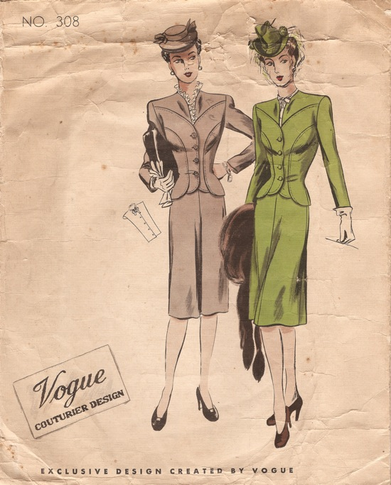 Vogue 308 - Vintage Sewing Patterns :  vintagepatterns vogue 308 skirt suit buttons