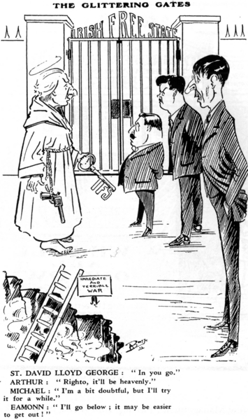 Arthur Booth cartoon showing Lloyd George, Arthur Griffith, Michael Collins and Eamon de Valera at the Pearly Gates